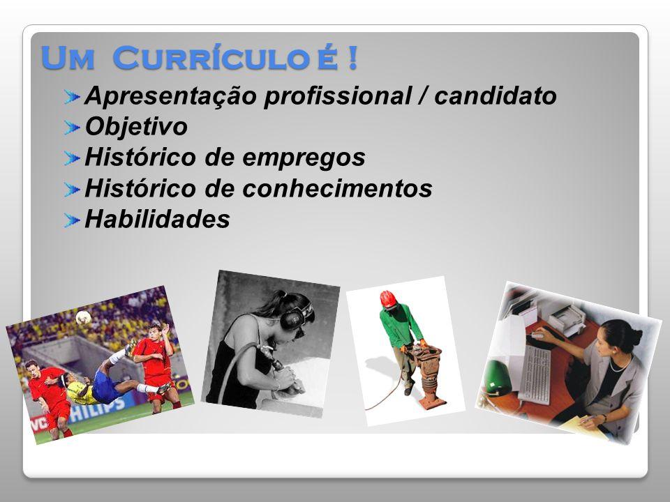 Um Currículo é ! Apresentação profissional / candidato Objetivo Histórico de empregos Histórico de conhecimentos Habilidades