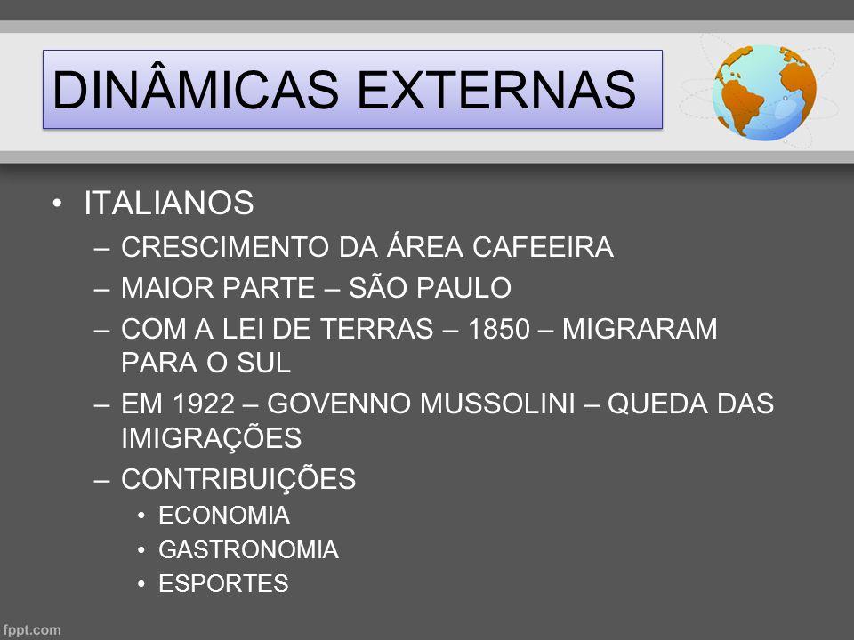 DINÂMICAS EXTERNAS •ITALIANOS –CRESCIMENTO DA ÁREA CAFEEIRA –MAIOR PARTE – SÃO PAULO –COM A LEI DE TERRAS – 1850 – MIGRARAM PARA O SUL –EM 1922 – GOVE
