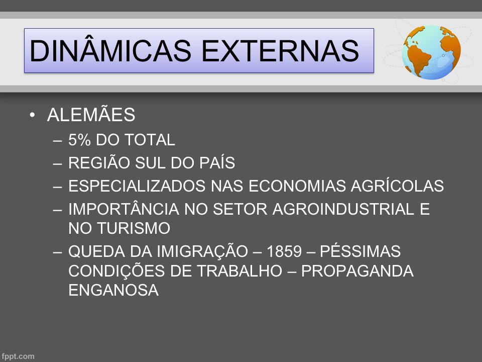 DINÂMICAS EXTERNAS •ALEMÃES –5% DO TOTAL –REGIÃO SUL DO PAÍS –ESPECIALIZADOS NAS ECONOMIAS AGRÍCOLAS –IMPORTÂNCIA NO SETOR AGROINDUSTRIAL E NO TURISMO