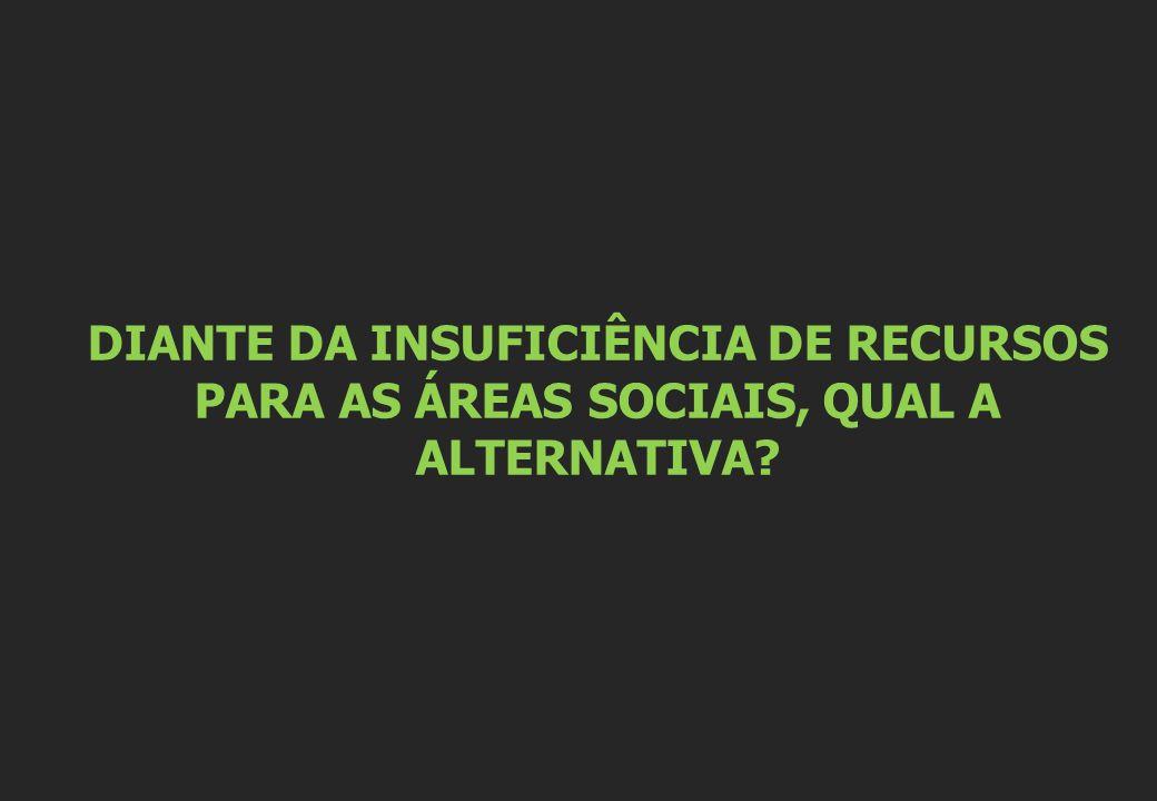 DIANTE DA INSUFICIÊNCIA DE RECURSOS PARA AS ÁREAS SOCIAIS, QUAL A ALTERNATIVA