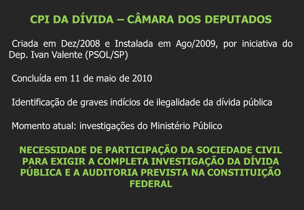 CPI DA DÍVIDA – CÂMARA DOS DEPUTADOS Criada em Dez/2008 e Instalada em Ago/2009, por iniciativa do Dep. Ivan Valente (PSOL/SP) Concluída em 11 de maio