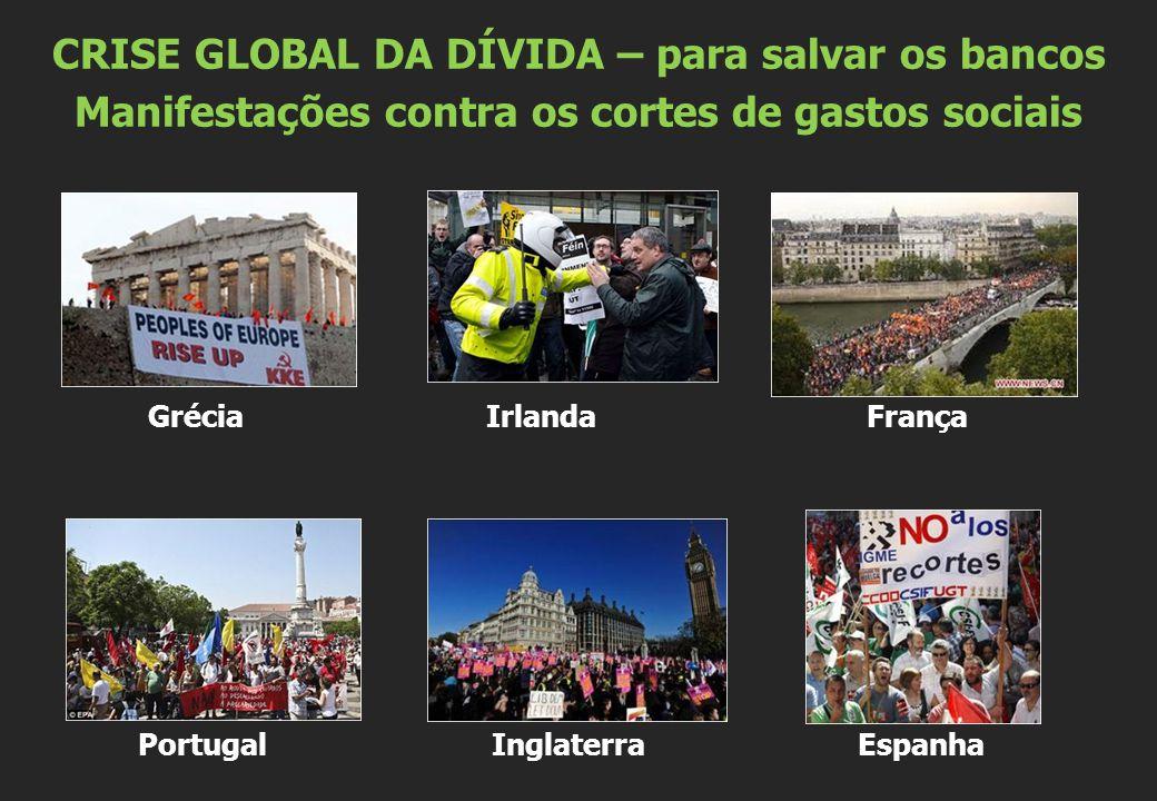 Grécia Irlanda França Portugal Inglaterra Espanha CRISE GLOBAL DA DÍVIDA – para salvar os bancos Manifestações contra os cortes de gastos sociais