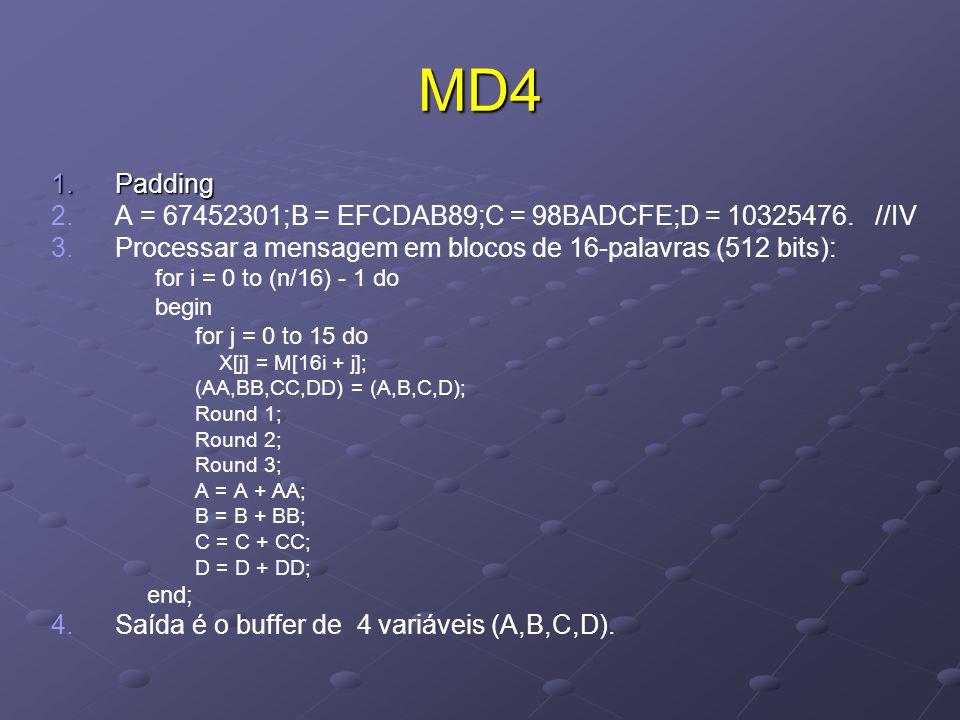 MD4 1.Padding 2. 2.A = 67452301;B = EFCDAB89;C = 98BADCFE;D = 10325476.