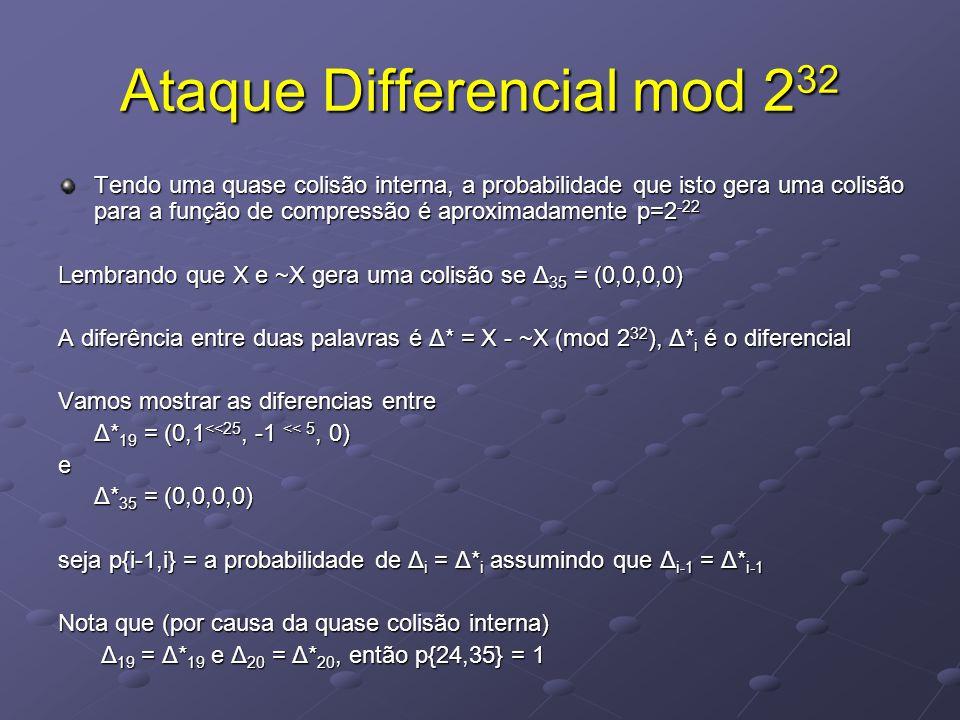 Ataque Differencial mod 2 32 Tendo uma quase colisão interna, a probabilidade que isto gera uma colisão para a função de compressão é aproximadamente p=2 -22 Lembrando que X e ~X gera uma colisão se Δ 35 = (0,0,0,0) A diferência entre duas palavras é Δ* = X - ~X (mod 2 32 ), Δ* i é o diferencial Vamos mostrar as diferencias entre Δ* 19 = (0,1 <<25, -1 << 5, 0) e Δ* 35 = (0,0,0,0) seja p{i-1,i} = a probabilidade de Δ i = Δ* i assumindo que Δ i-1 = Δ* i-1 Nota que (por causa da quase colisão interna) Δ 19 = Δ* 19 e Δ 20 = Δ* 20, então p{24,35} = 1 Δ 19 = Δ* 19 e Δ 20 = Δ* 20, então p{24,35} = 1