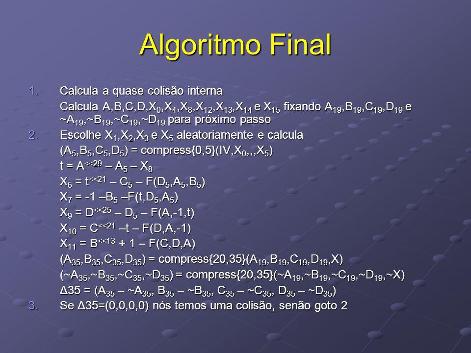 Algoritmo Final 1.Calcula a quase colisão interna Calcula A,B,C,D,X 0,X 4,X 8,X 12,X 13,X 14 e X 15 fixando A 19,B 19,C 19,D 19 e ~A 19,~B 19,~C 19,~D 19 para próximo passo 2.Escolhe X 1,X 2,X 3 e X 5 aleatoriamente e calcula (A 5,B 5,C 5,D 5 ) = compress{0,5}(IV,X 0,,,X 5 ) t = A <<29 – A 5 – X 8 X 6 = t <<21 – C 5 – F(D 5,A 5,B 5 ) X 7 = -1 –B 5 –F(t,D 5,A 5 ) X 9 = D <<25 – D 5 – F(A,-1,t) X 10 = C <<21 –t – F(D,A,-1) X 11 = B <<13 + 1 – F(C,D,A) (A 35,B 35,C 35,D 35 ) = compress{20,35}(A 19,B 19,C 19,D 19,X) (~A 35,~B 35,~C 35,~D 35 ) = compress{20,35}(~A 19,~B 19,~C 19,~D 19,~X) Δ35 = (A 35 – ~A 35, B 35 – ~B 35, C 35 – ~C 35, D 35 – ~D 35 ) 3.Se Δ35=(0,0,0,0) nós temos uma colisão, senão goto 2