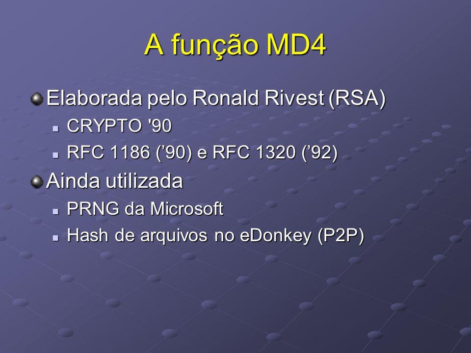 A função MD4 Elaborada pelo Ronald Rivest (RSA)  CRYPTO 90  RFC 1186 ('90) e RFC 1320 ('92) Ainda utilizada  PRNG da Microsoft  Hash de arquivos no eDonkey (P2P)