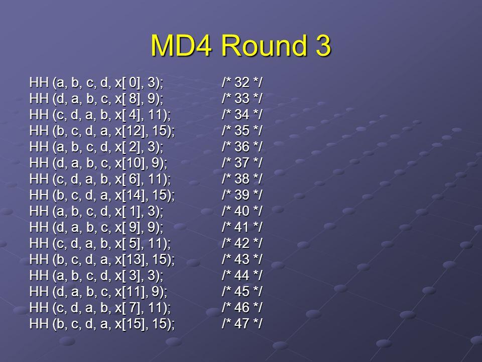 MD4 Round 3 HH (a, b, c, d, x[ 0], 3); /* 32 */ HH (d, a, b, c, x[ 8], 9); /* 33 */ HH (c, d, a, b, x[ 4], 11); /* 34 */ HH (b, c, d, a, x[12], 15);/* 35 */ HH (a, b, c, d, x[ 2], 3); /* 36 */ HH (d, a, b, c, x[10], 9); /* 37 */ HH (c, d, a, b, x[ 6], 11); /* 38 */ HH (b, c, d, a, x[14], 15); /* 39 */ HH (a, b, c, d, x[ 1], 3); /* 40 */ HH (d, a, b, c, x[ 9], 9); /* 41 */ HH (c, d, a, b, x[ 5], 11); /* 42 */ HH (b, c, d, a, x[13], 15); /* 43 */ HH (a, b, c, d, x[ 3], 3); /* 44 */ HH (d, a, b, c, x[11], 9); /* 45 */ HH (c, d, a, b, x[ 7], 11); /* 46 */ HH (b, c, d, a, x[15], 15); /* 47 */