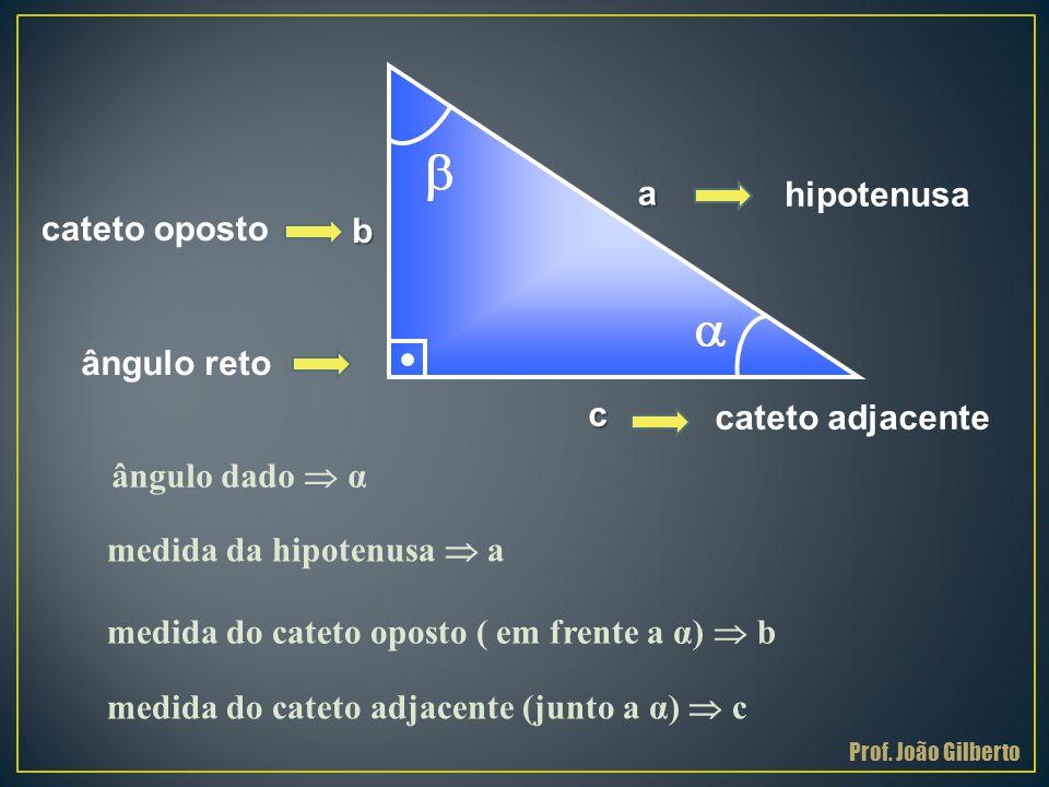 . a aa a c b ângulo reto ângulo dado  α medida da hipotenusa  a medida do cateto oposto ( em frente a α)  b medida do cateto adjacente (junto a α)