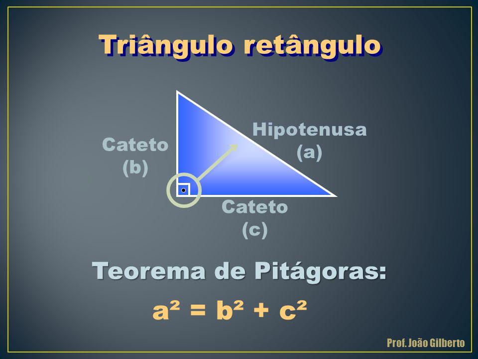 Hipotenusa (a) Cateto (b) Triângulo retângulo Teorema de Pitágoras: Cateto (c) a² = b² + c² Prof. João Gilberto