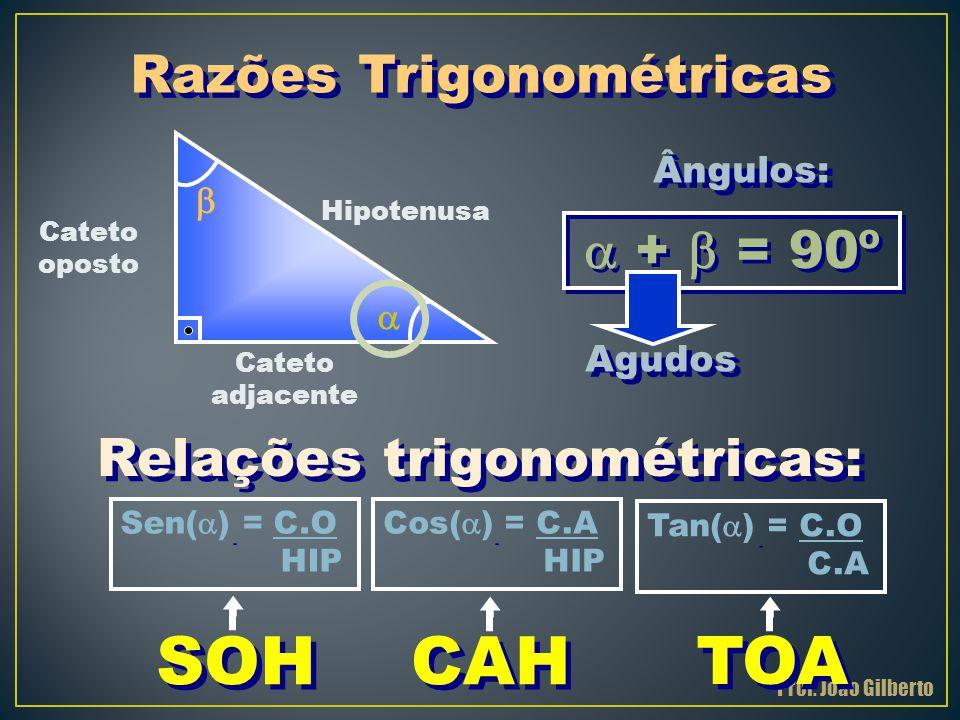 Hipotenusa Cateto oposto Cateto adjacente    +  = 90º Ângulos: Agudos Sen(  ) = C.O HIP Cos(  ) = C.A HIP Tan(  ) = C.O C.A Relações trigonomét