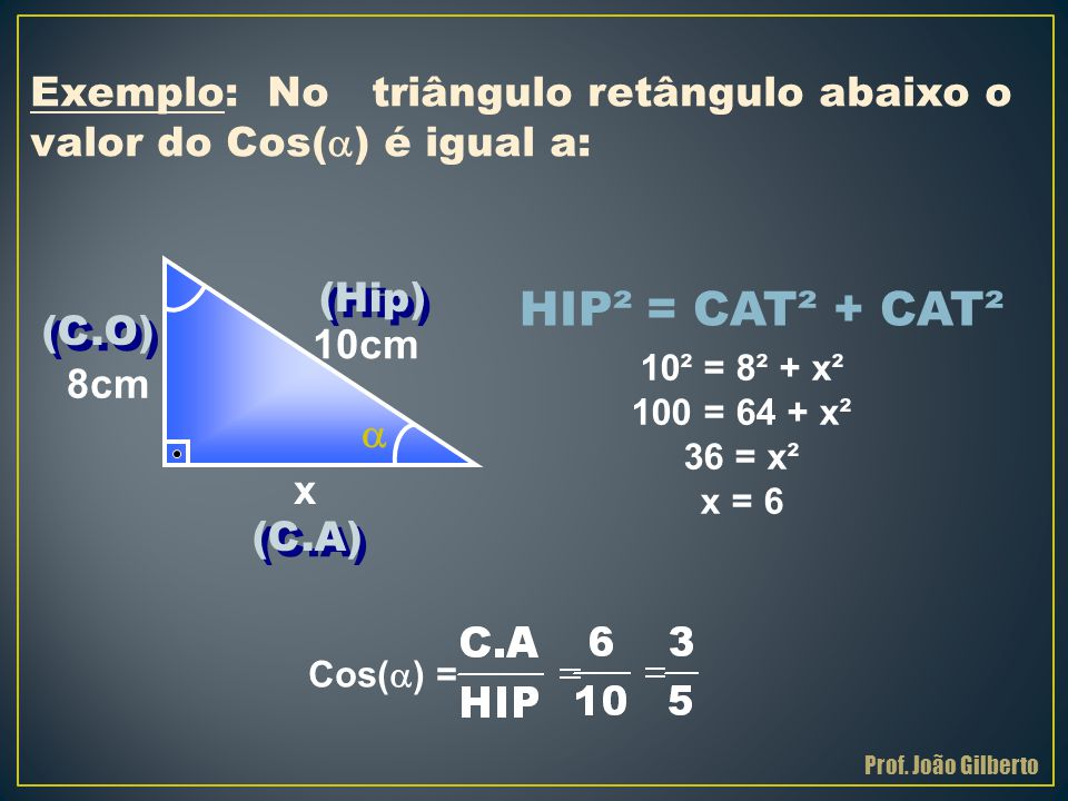 HIP² = CAT² + CAT² Exemplo: No triângulo retângulo abaixo o valor do Cos(  ) é igual a: x 10cm 8cm 10² = 8² + x² 100 = 64 + x² 36 = x² x = 6 Cos(  )