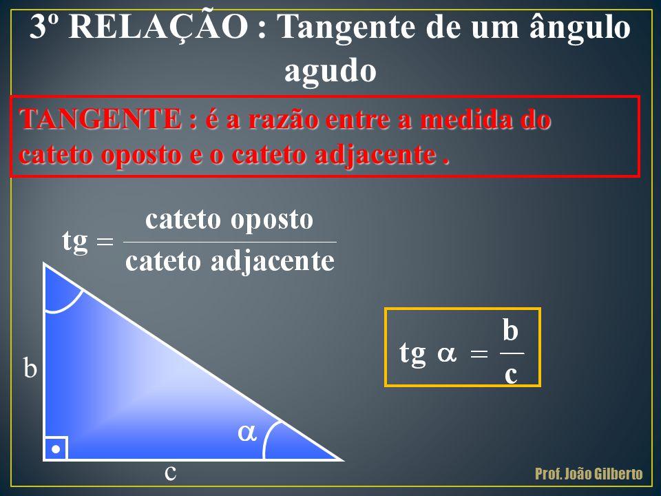 3º RELAÇÃO : Tangente de um ângulo agudo TANGENTE : é a razão entre a medida do cateto oposto e o cateto adjacente. c b Prof. João Gilberto