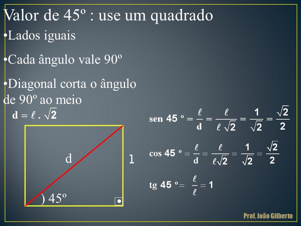 . Valor de 45º : use um quadrado •Lados iguais •Cada ângulo vale 90º •Diagonal corta o ângulo de 90º ao meio ) 45º d l Prof. João Gilberto