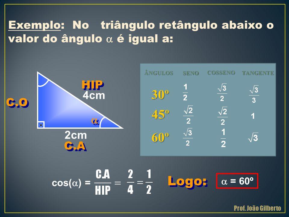 Logo: Exemplo: No triângulo retângulo abaixo o valor do ângulo  é igual a: 2cm 4cm  = 60º cos(  ) =   HIP C.O C.A Prof. João Gilberto ÂNGULOS SEN