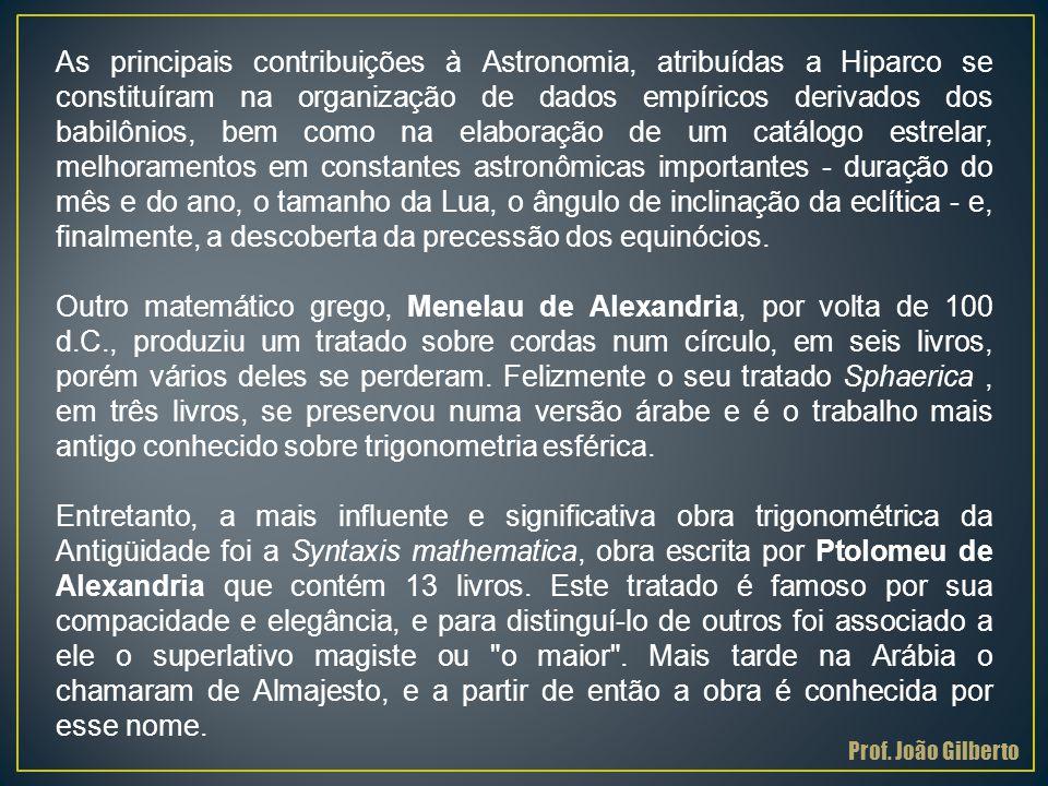 As principais contribuições à Astronomia, atribuídas a Hiparco se constituíram na organização de dados empíricos derivados dos babilônios, bem como na