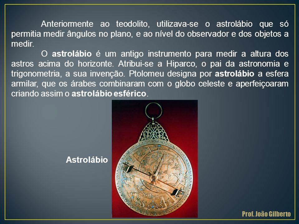 Anteriormente ao teodolito, utilizava-se o astrolábio que só permitia medir ângulos no plano, e ao nível do observador e dos objetos a medir. O astrol