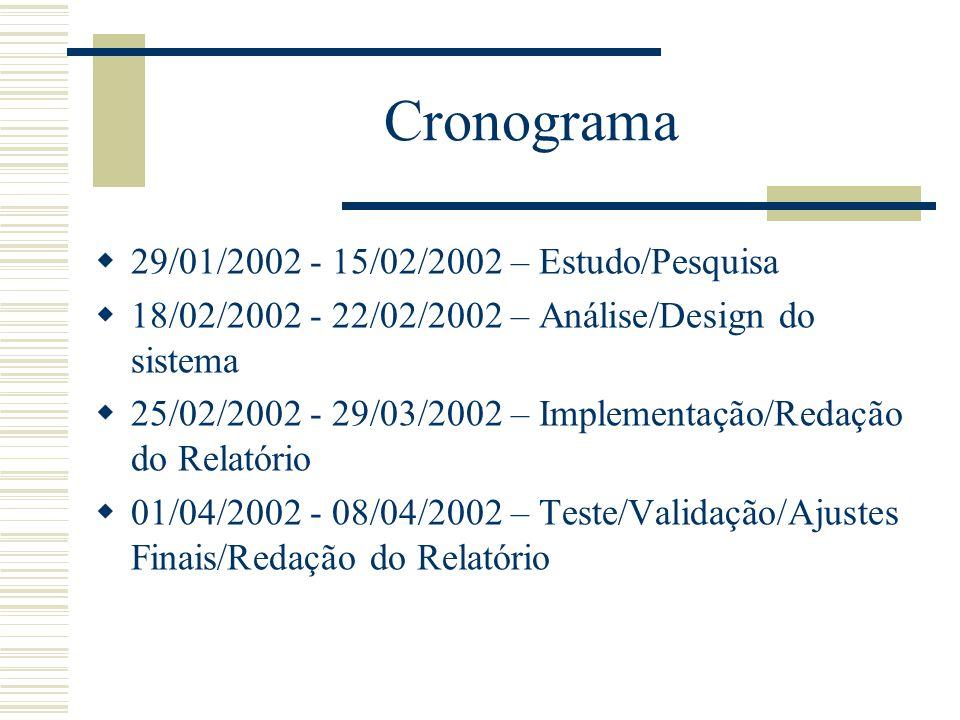Cronograma  29/01/2002 - 15/02/2002 – Estudo/Pesquisa  18/02/2002 - 22/02/2002 – Análise/Design do sistema  25/02/2002 - 29/03/2002 – Implementação