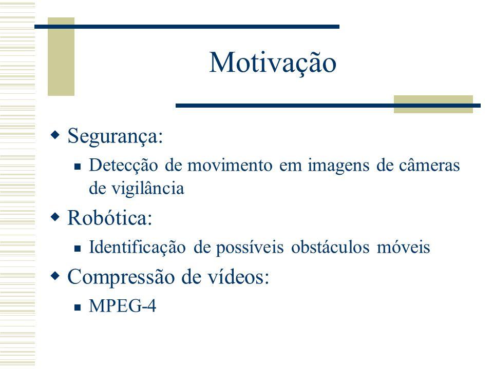 Motivação  Segurança:  Detecção de movimento em imagens de câmeras de vigilância  Robótica:  Identificação de possíveis obstáculos móveis  Compressão de vídeos:  MPEG-4