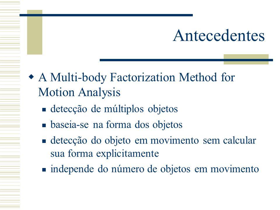 Antecedentes  A Multi-body Factorization Method for Motion Analysis  detecção de múltiplos objetos  baseia-se na forma dos objetos  detecção do objeto em movimento sem calcular sua forma explicitamente  independe do número de objetos em movimento