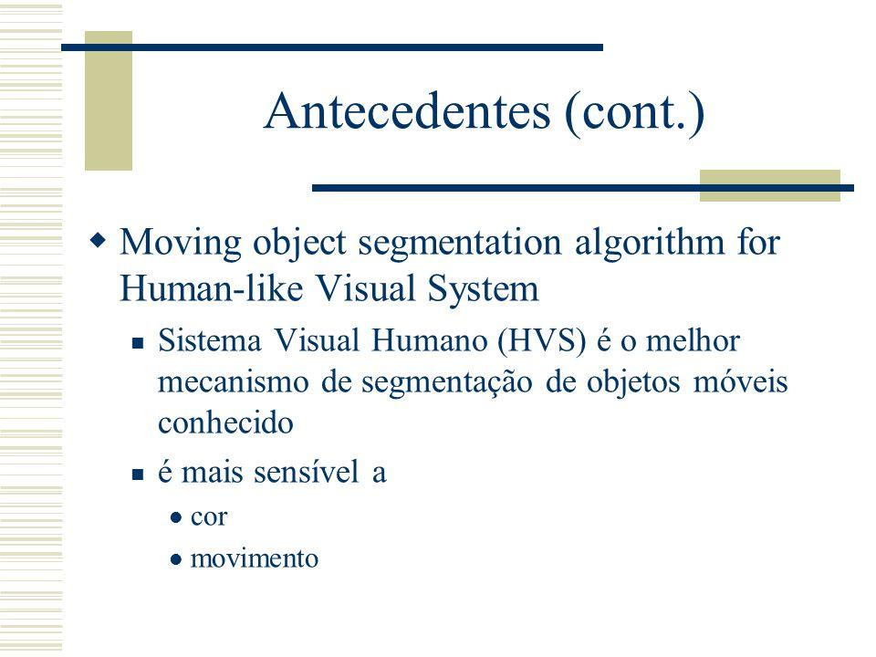 Antecedentes (cont.)  Moving object segmentation algorithm for Human-like Visual System  Sistema Visual Humano (HVS) é o melhor mecanismo de segmentação de objetos móveis conhecido  é mais sensível a  cor  movimento