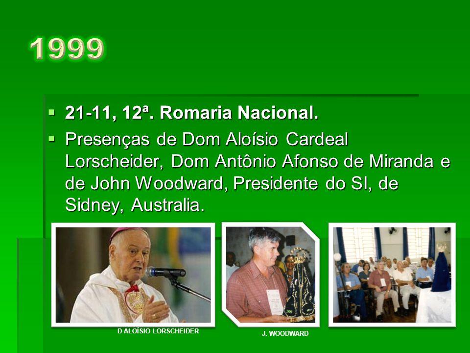  22-11, 11ª. Romaria Nacional.  Presenças: Affonso José lannone, 1º. brasileiro, Presidente do Serra Internacional e Sra. Gladys Melendez, executiva