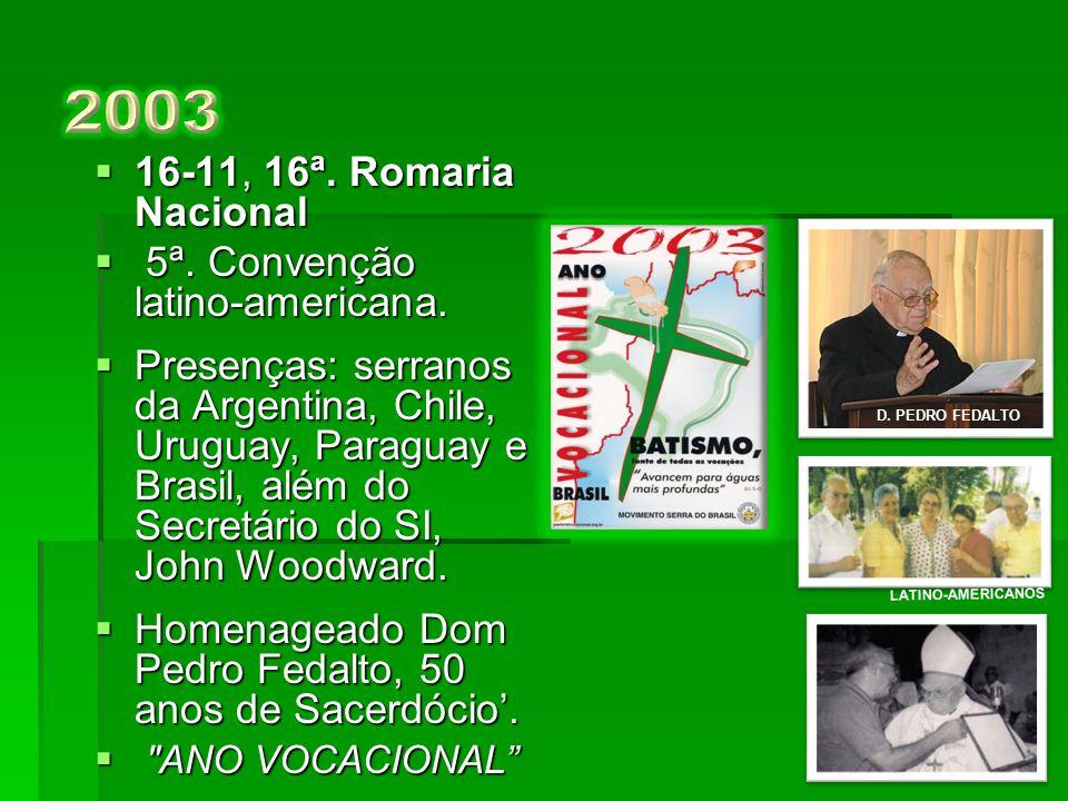  17-11, 15ª. Romaria Nacional.  Presença de Dom Pedro Fedalto, Assistente Episcopal do CNSB. Dom Pedro Fedalto, Assistente Episcopal do CNSB.  Pale