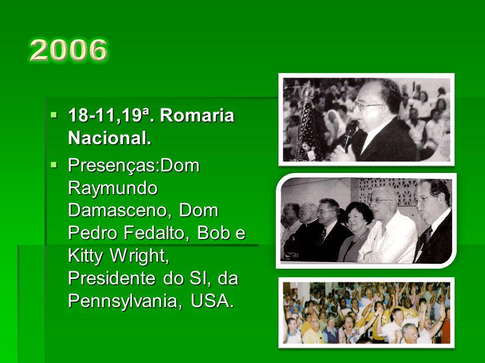  20-11, 18ª. Romaria Nacional.  Presenças:Dom Pedro Fedalto, Dennis e Beril Leiber, Presidente do SI, de Michigan, USA e Luiz Alen, Governador do Di