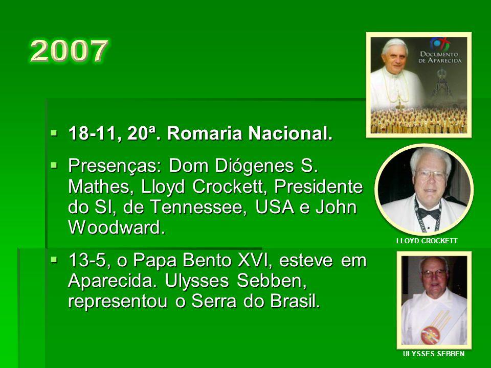  18-11,19ª. Romaria Nacional.  Presenças:Dom Raymundo Damasceno, Dom Pedro Fedalto, Bob e Kitty Wright, Presidente do SI, da Pennsylvania, USA.