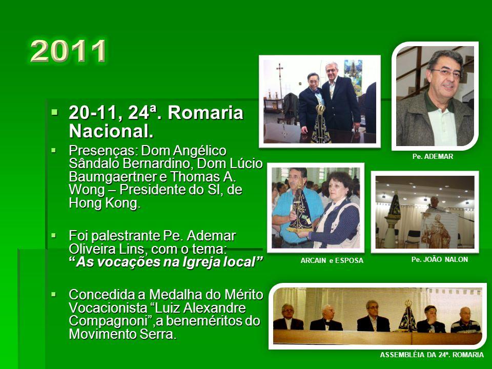  21-11, 23ª. Romaria Nacional.  Presenças: Dom Diógenes Silva Mathes, Assistente Episcopal do CNSB e de Dom José Carlos de Oliveira CSSR.