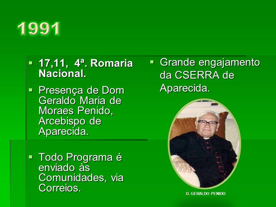  18-11, 3ª. Romaria Nacional.  Palestrante Dom Antônio Afonso de Miranda.  Formação de grupos regionais, uniformizados, portando as bandeiras de su