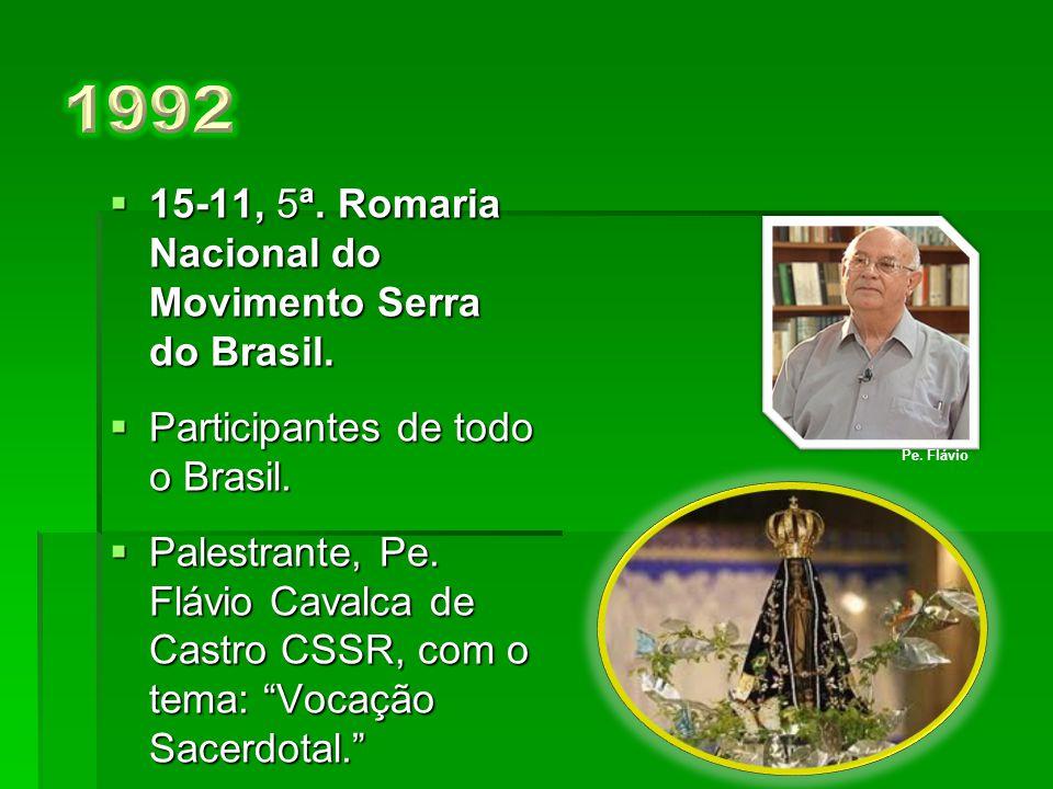  17,11, 4ª. Romaria Nacional.  Presença de Dom Geraldo Maria de Moraes Penido, Arcebispo de Aparecida.  Todo Programa é enviado às Comunidades, via