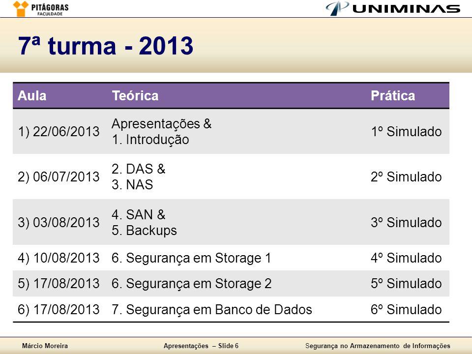 Márcio MoreiraApresentações – Slide 6Segurança no Armazenamento de Informações 7ª turma - 2013 AulaTeóricaPrática 1) 22/06/2013 Apresentações & 1. Int