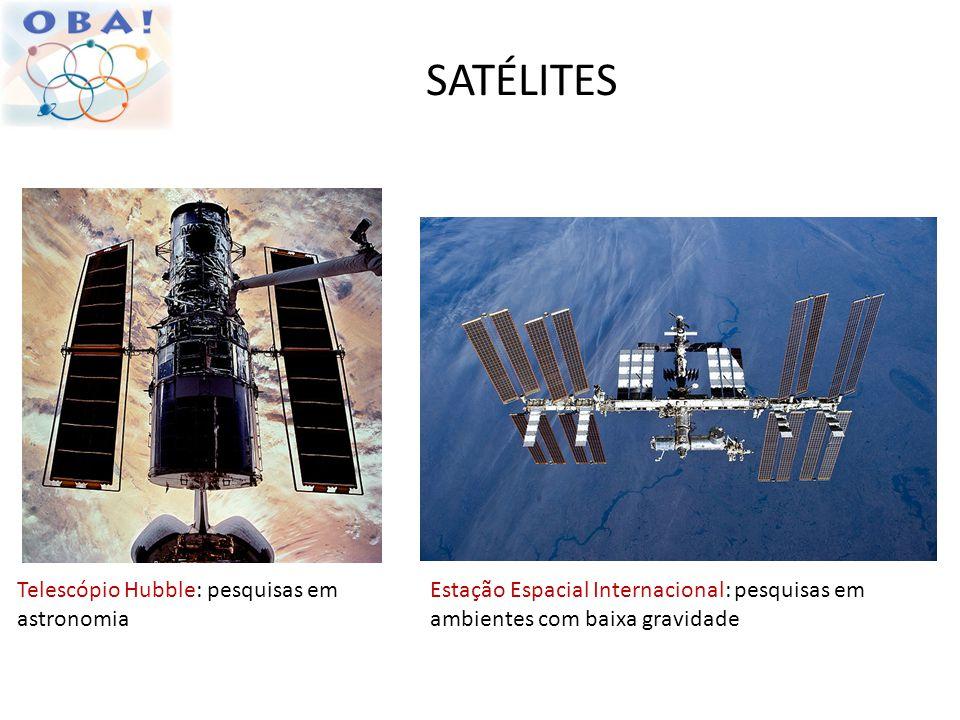 SATÉLITES Estação Espacial Internacional: pesquisas em ambientes com baixa gravidade Telescópio Hubble: pesquisas em astronomia