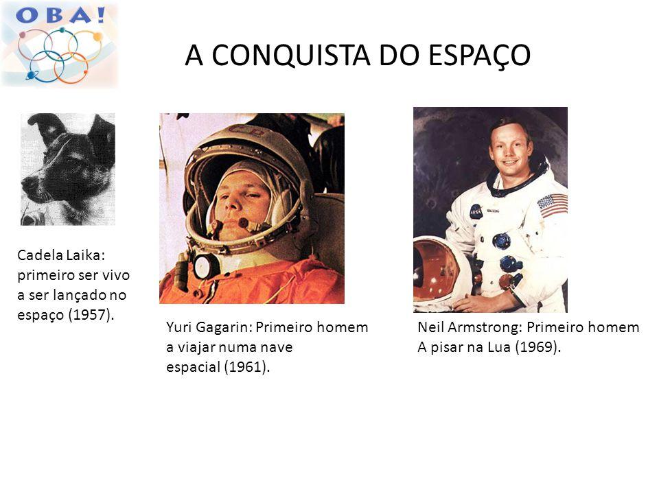 A CONQUISTA DO ESPAÇO Cadela Laika: primeiro ser vivo a ser lançado no espaço (1957). Yuri Gagarin: Primeiro homem a viajar numa nave espacial (1961).