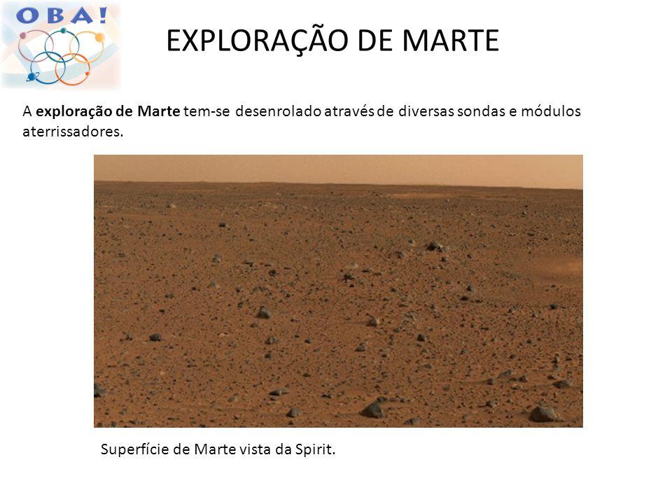 EXPLORAÇÃO DE MARTE A exploração de Marte tem-se desenrolado através de diversas sondas e módulos aterrissadores. Superfície de Marte vista da Spirit.