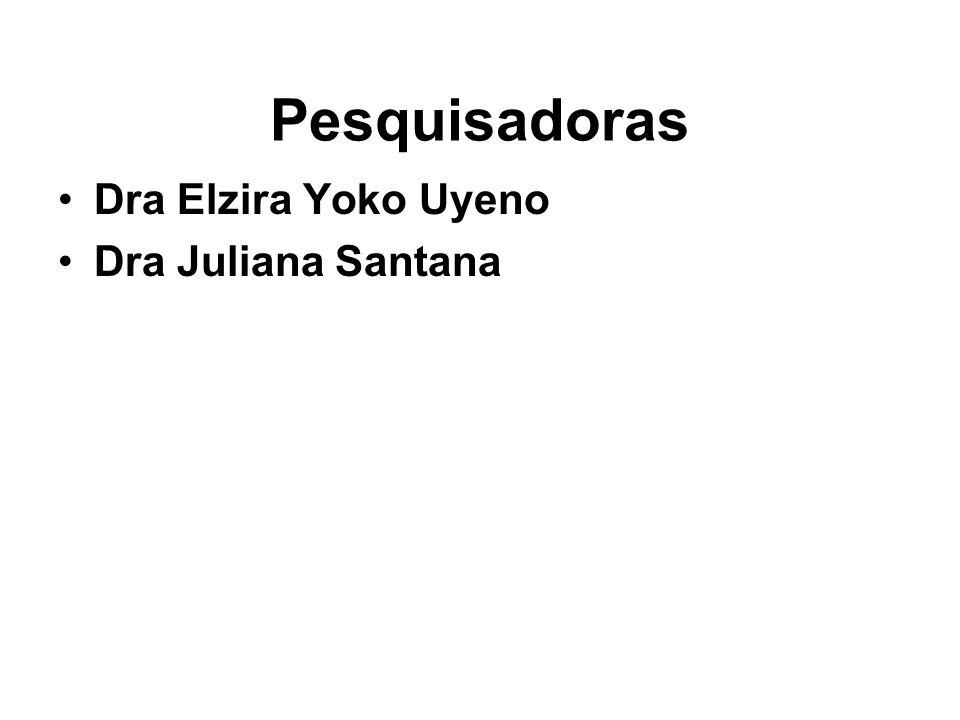Pesquisadoras •Dra Elzira Yoko Uyeno •Dra Juliana Santana