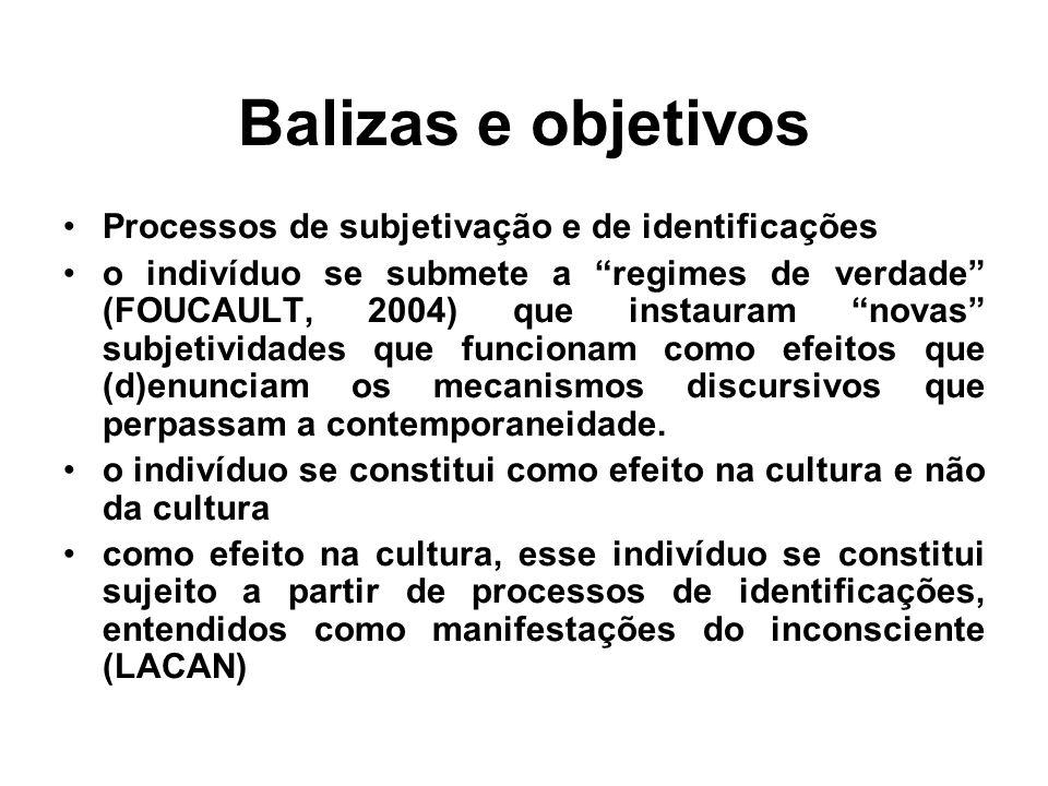 """Balizas e objetivos •Processos de subjetivação e de identificações •o indivíduo se submete a """"regimes de verdade"""" (FOUCAULT, 2004) que instauram """"nova"""