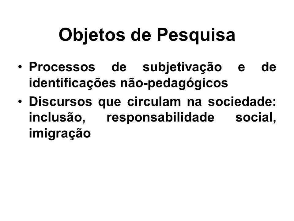 Objetos de Pesquisa •Processos de subjetivação e de identificações não-pedagógicos •Discursos que circulam na sociedade: inclusão, responsabilidade so