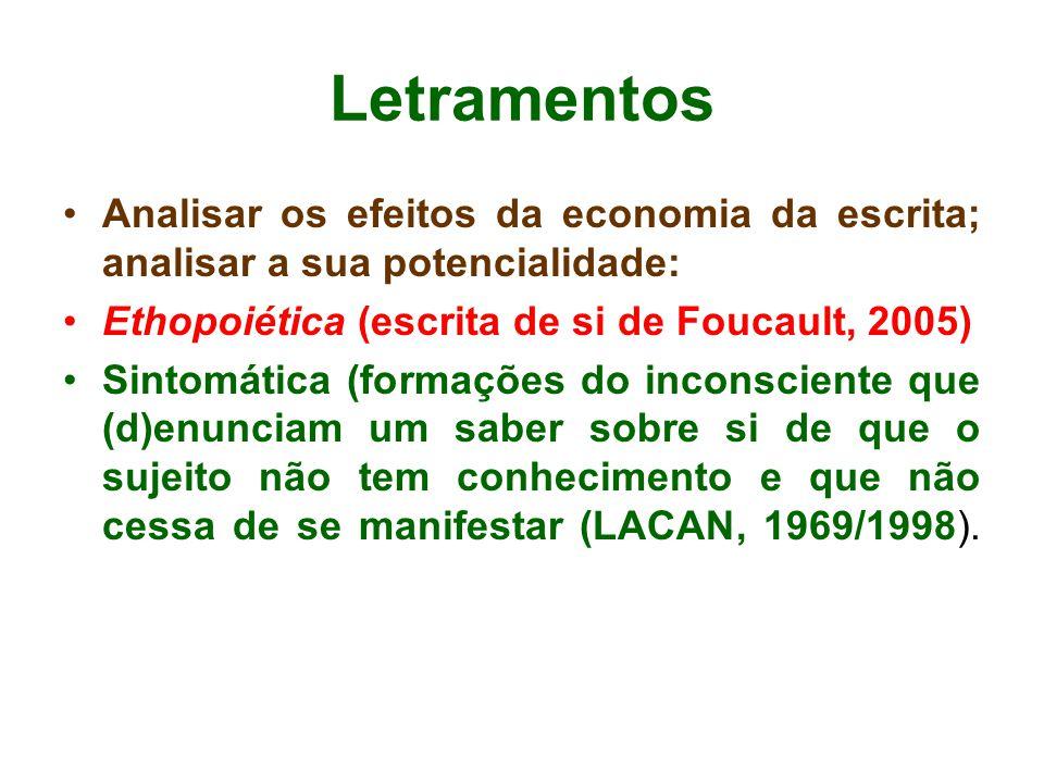 Letramentos •Analisar os efeitos da economia da escrita; analisar a sua potencialidade: •Ethopoiética (escrita de si de Foucault, 2005) •Sintomática (