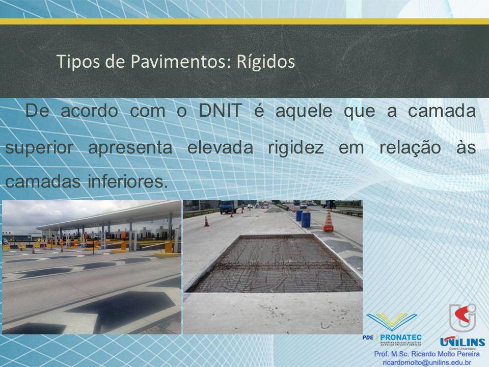 Tipos de Pavimentos: Rígidos De acordo com o DNIT é aquele que a camada superior apresenta elevada rigidez em relação às camadas inferiores.