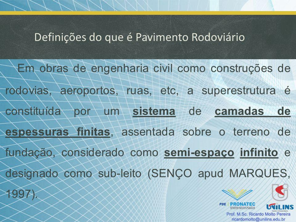 Definições do que é Pavimento Rodoviário Em obras de engenharia civil como construções de rodovias, aeroportos, ruas, etc, a superestrutura é constitu