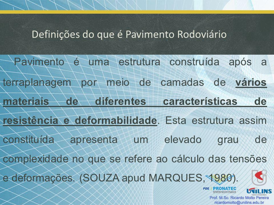 Definições do que é Pavimento Rodoviário Pavimento é uma estrutura construída após a terraplanagem por meio de camadas de vários materiais de diferent