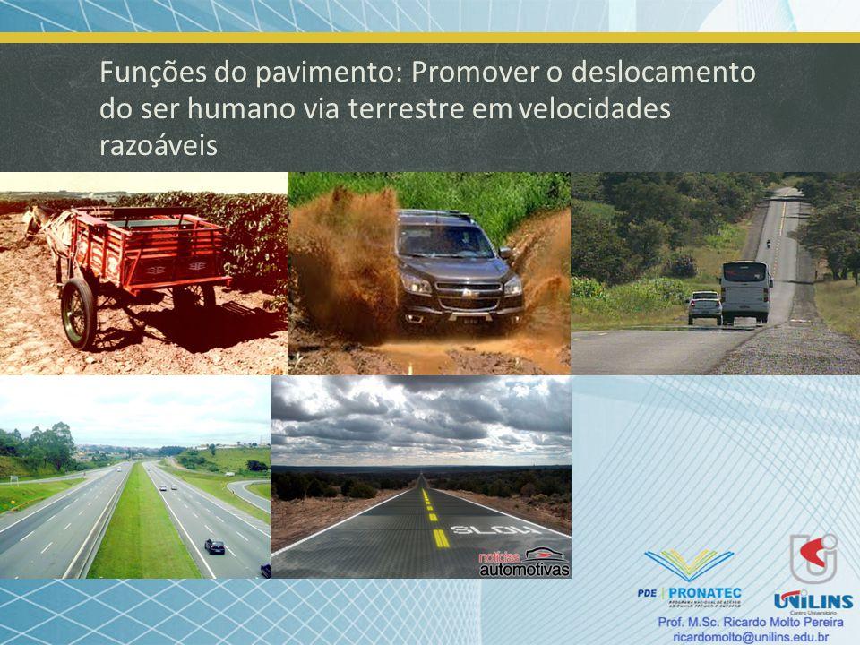 Funções do pavimento: Promover o deslocamento do ser humano via terrestre em velocidades razoáveis