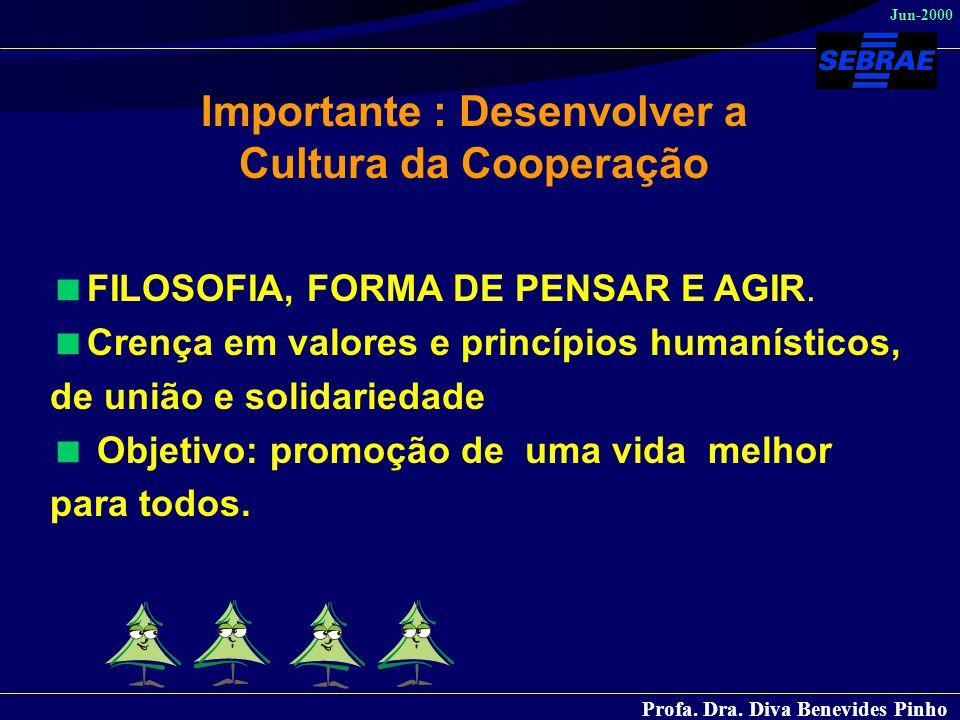Profa. Dra. Diva Benevides Pinho Jun-2000  FILOSOFIA, FORMA DE PENSAR E AGIR.  Crença em valores e princípios humanísticos, de união e solidariedade