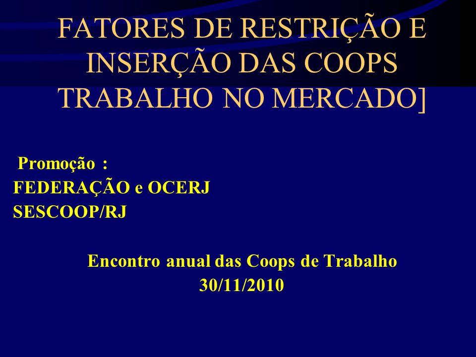 FATORES DE RESTRIÇÃO E INSERÇÃO DAS COOPS TRABALHO NO MERCADO] Promoção : FEDERAÇÃO e OCERJ SESCOOP/RJ Encontro anual das Coops de Trabalho 30/11/2010