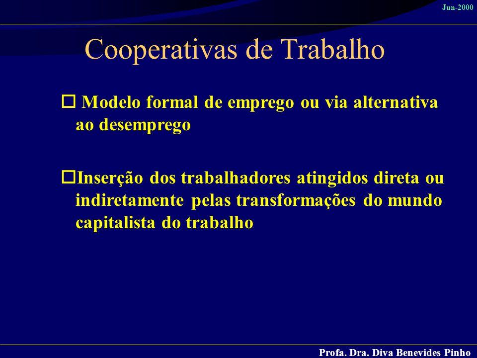 Profa. Dra. Diva Benevides Pinho Jun-2000 Cooperativas de Trabalho o Modelo formal de emprego ou via alternativa ao desemprego oInserção dos trabalhad