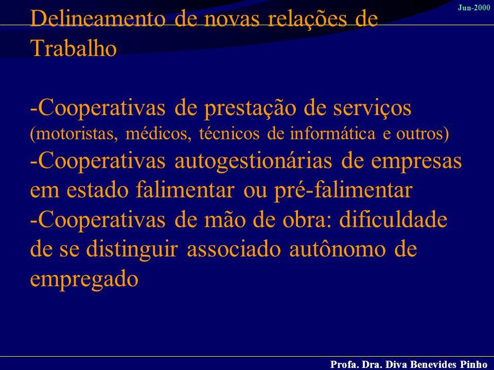 Profa. Dra. Diva Benevides Pinho Jun-2000 Delineamento de novas relações de Trabalho -Cooperativas de prestação de serviços (motoristas, médicos, técn
