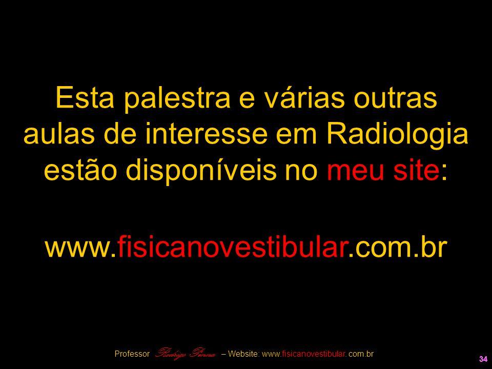 34 www.fisicanovestibular.com.br 34 Esta palestra e várias outras aulas de interesse em Radiologia estão disponíveis no meu site: Professor Rodrigo Pe