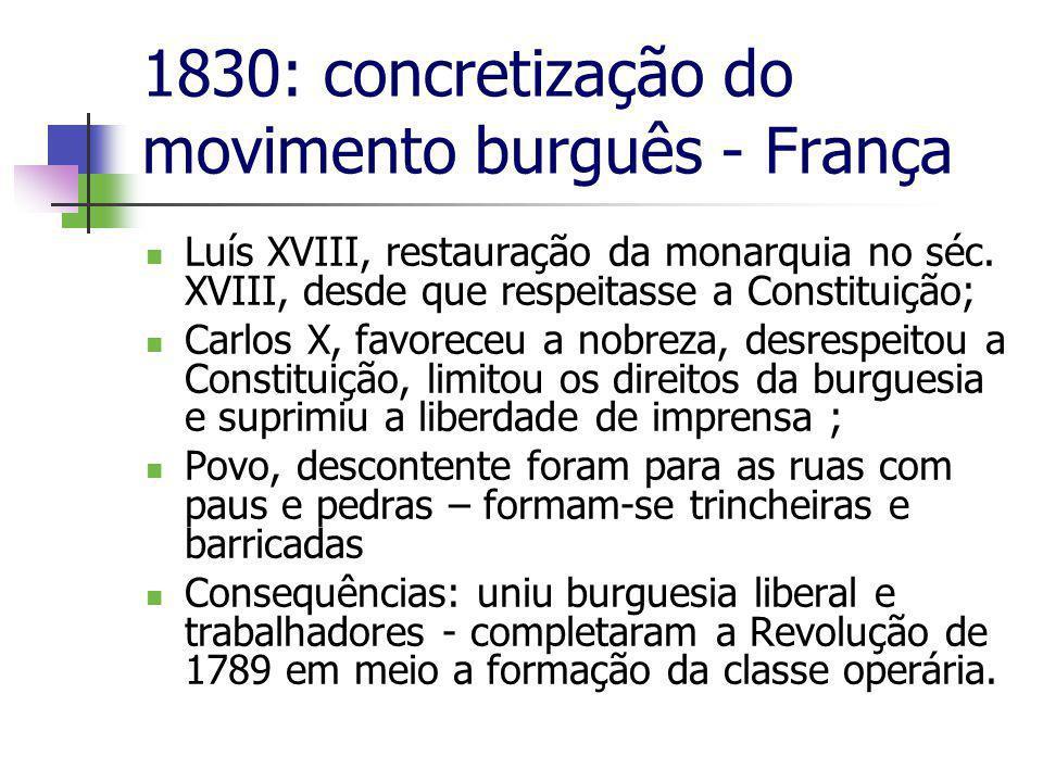 1830: concretização do movimento burguês - França  Luís XVIII, restauração da monarquia no séc.