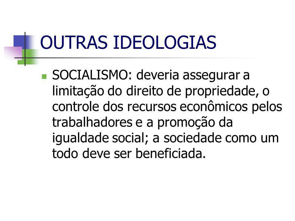 OUTRAS IDEOLOGIAS  SOCIALISMO: deveria assegurar a limitação do direito de propriedade, o controle dos recursos econômicos pelos trabalhadores e a promoção da igualdade social; a sociedade como um todo deve ser beneficiada.